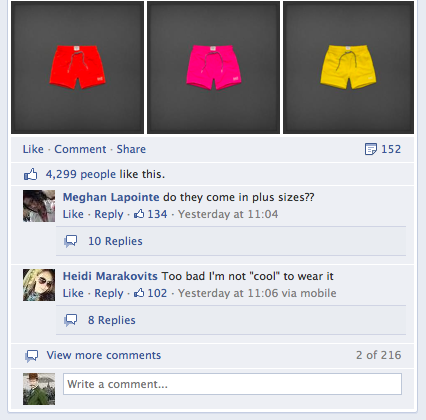 Fans push back on the Abercrombie Facebook Page.