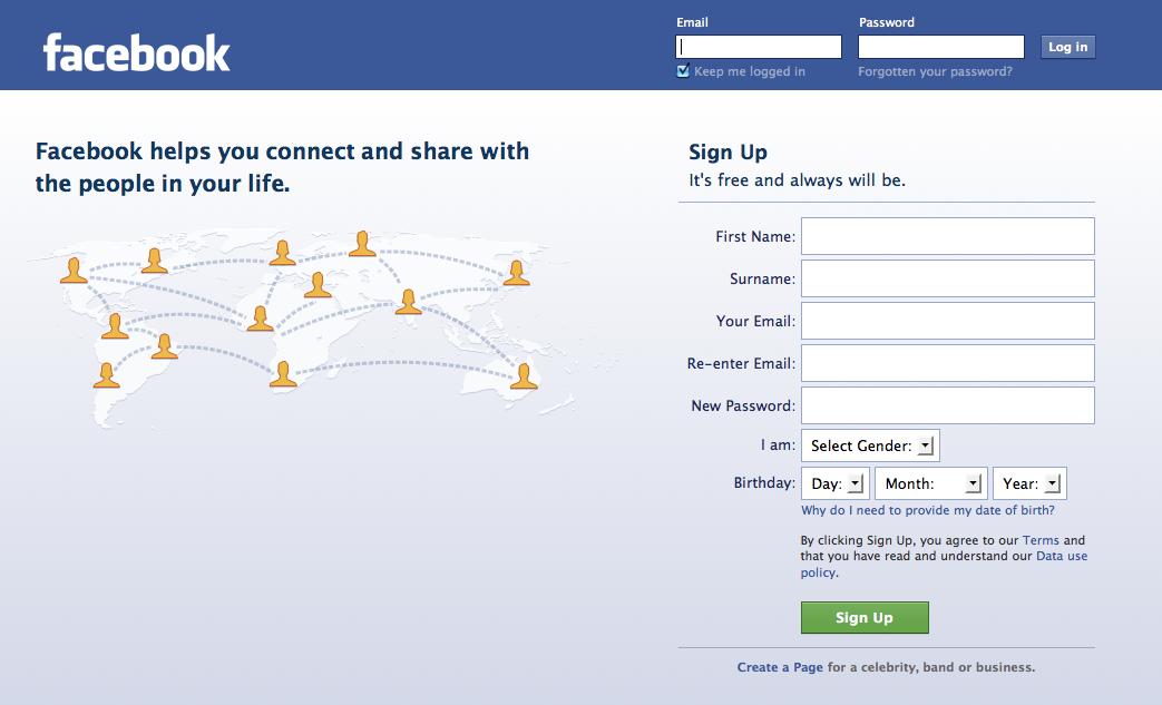 facebook login facebook homepage english