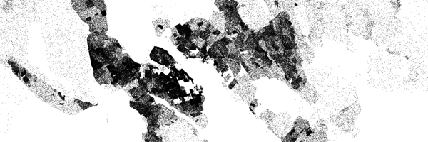 A close up of Halifax and Dartmouth NS in the Census Dotmap.
