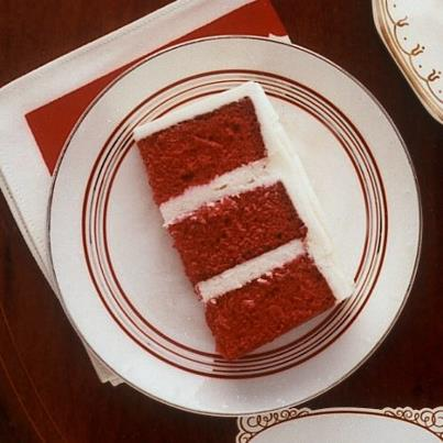 Martha Stewart's Facebook page used a slice of red cake with white icing to make the image.